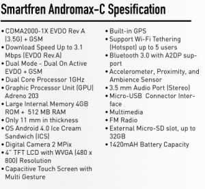 Spesifikasi Smartfren Andromax C