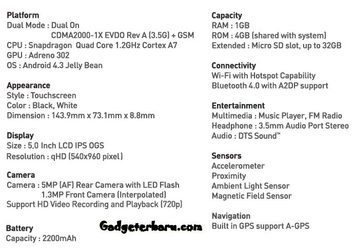 Spesifikasi Smartfren Andromax i3s