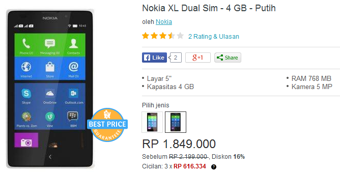 Nokia XL Kridit gambar Crop lazada.co.id