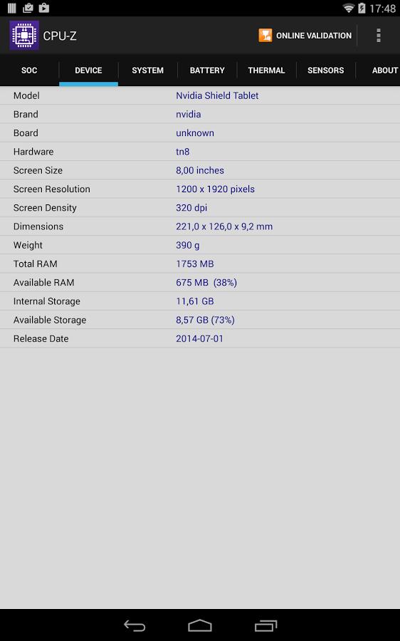Tampilan aplikasi Aplikasi CPU-Z