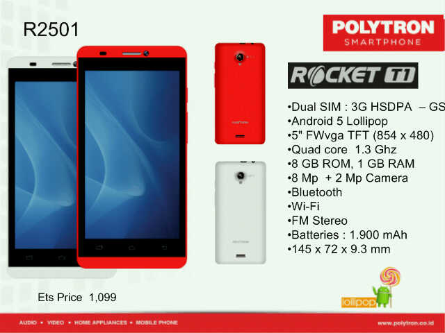 Polytron Rocket T1 R2501 Cridit imege tokopedia.net