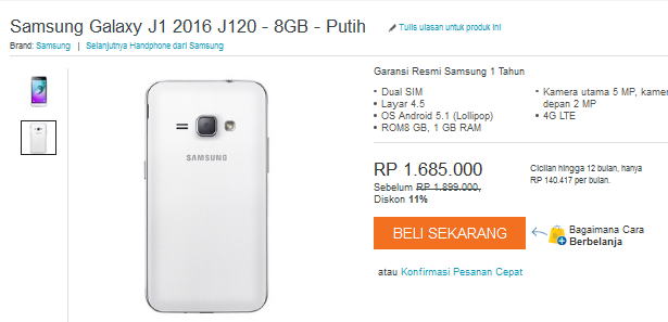 Samsung Galaxy J1 2016 di indonesia