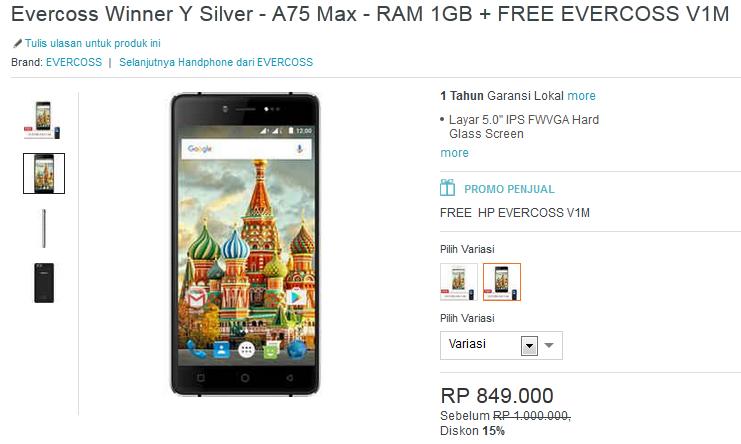 Evercoss Winner Y Silver A75 Max