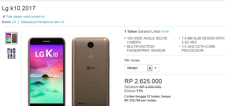 LG K10 2017 lazada